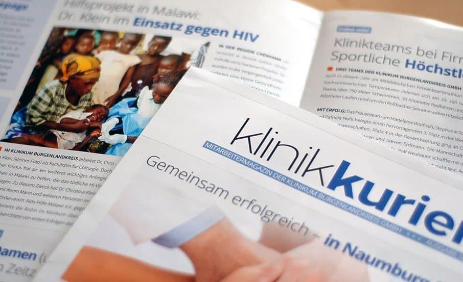 """Projekt: Mitarbeitermagazin """"Klinikkurier"""" / Klinikum Burgenlandkreis"""