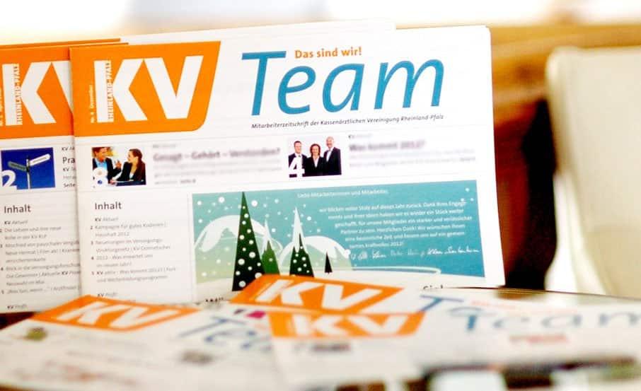 """Projekt:  Mitarbeiterzeitung """"KV Team"""" / Kassenärztliche Vereinigung Rheinland Pfalz"""