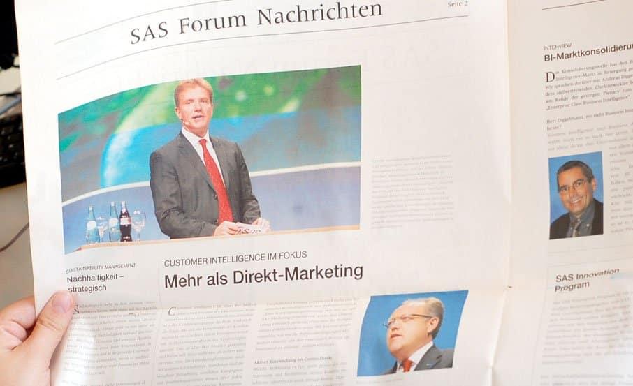 """Projekt: Sonderbeilage """"SAS Forum Nachrichten"""" / SAS Institut Heidelberg"""