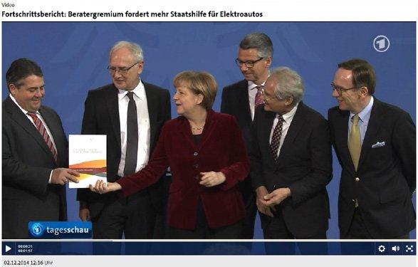 Tagesschau berichtet in Berlin über von der CP-Agentur 4iMEDIA realisierten Elektromobilitätsbericht für Bundesregierung