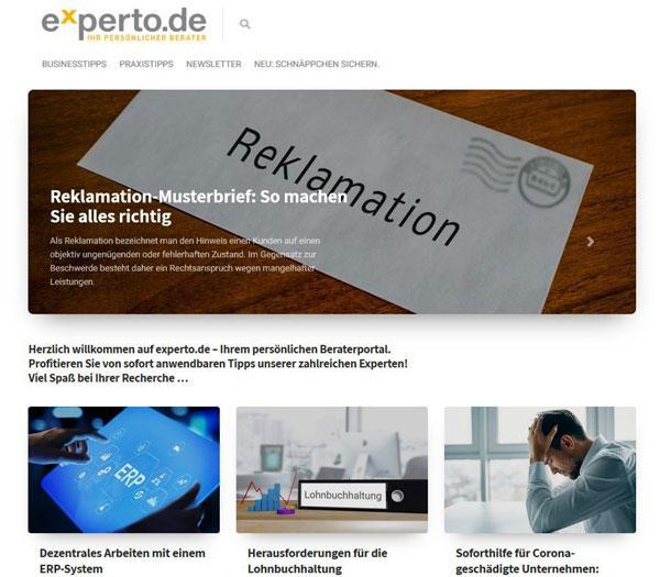 Screenshot-Startseite-Experto