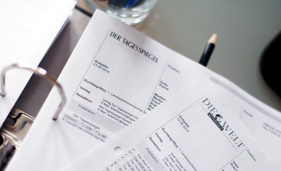 PR-Agentur sammelt und evaluiert Clippings von Pressemitteilungen