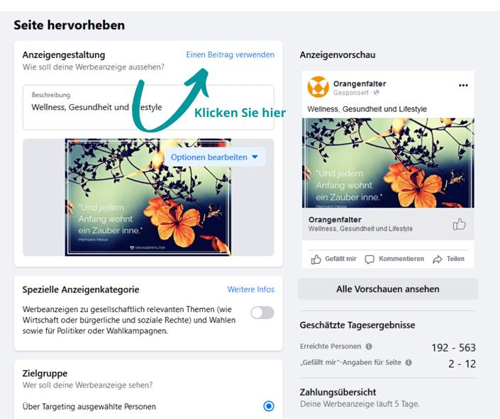 facebook anzeigen gestalten