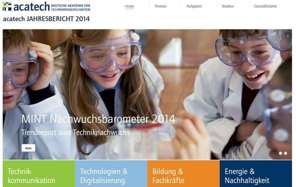 Agentur erstellt Online Jahresbericht für acatech
